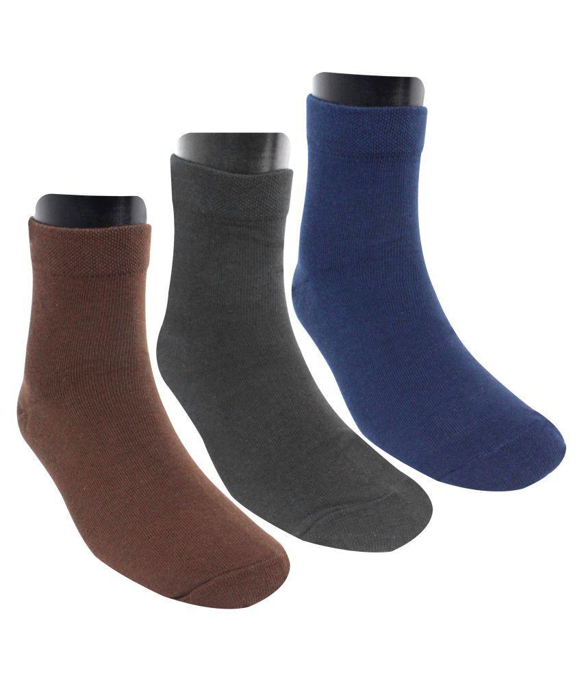 Neska Moda Men #039;s 3 Pair Crew Length Socks  Brown,Dark Blue,Black