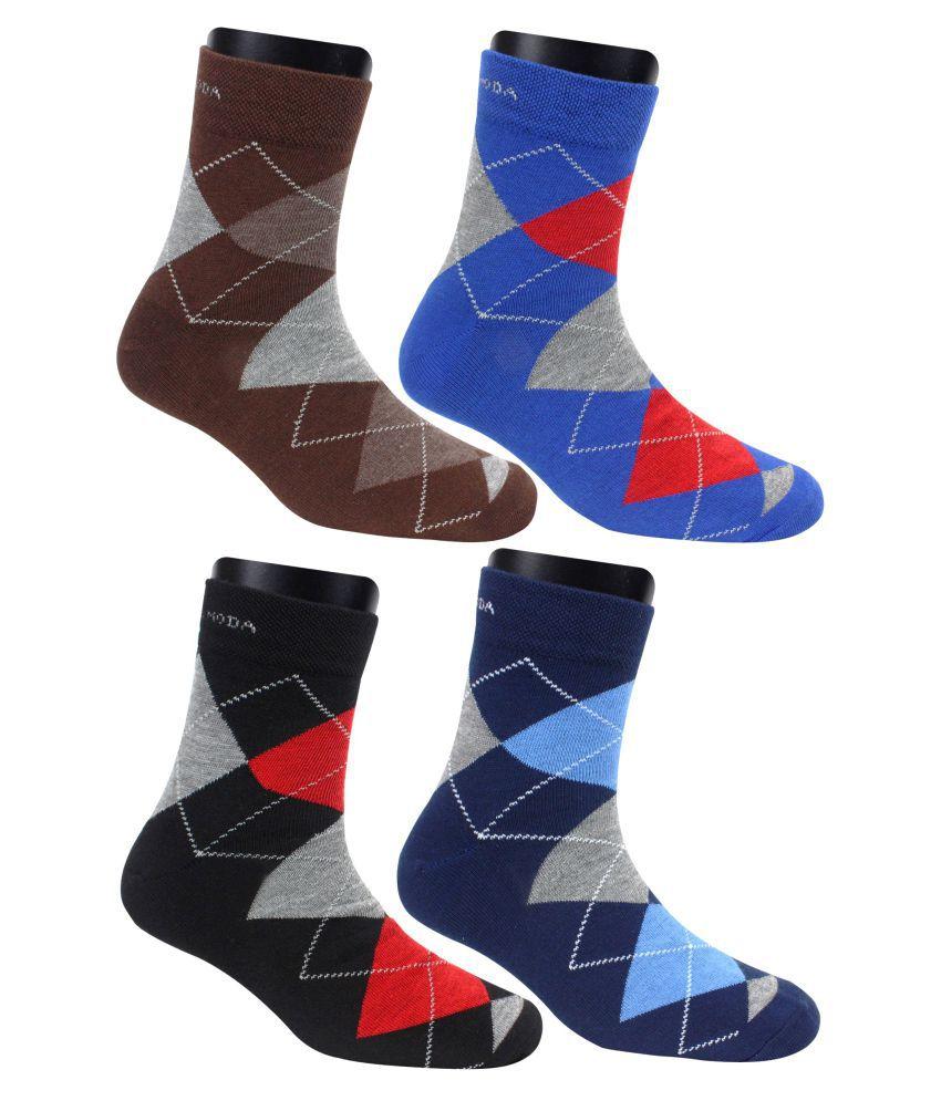 Neska Moda Men #039;s 4 Pair Checkered Ankle Length Socks  Dark Blue,Brown,Black,Blue