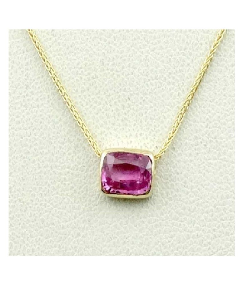 Pink Sapphire Pendant with 100% Original 9.25 Ratti Lab Certified Stone Gold Plated Pendant by Kundli Gems
