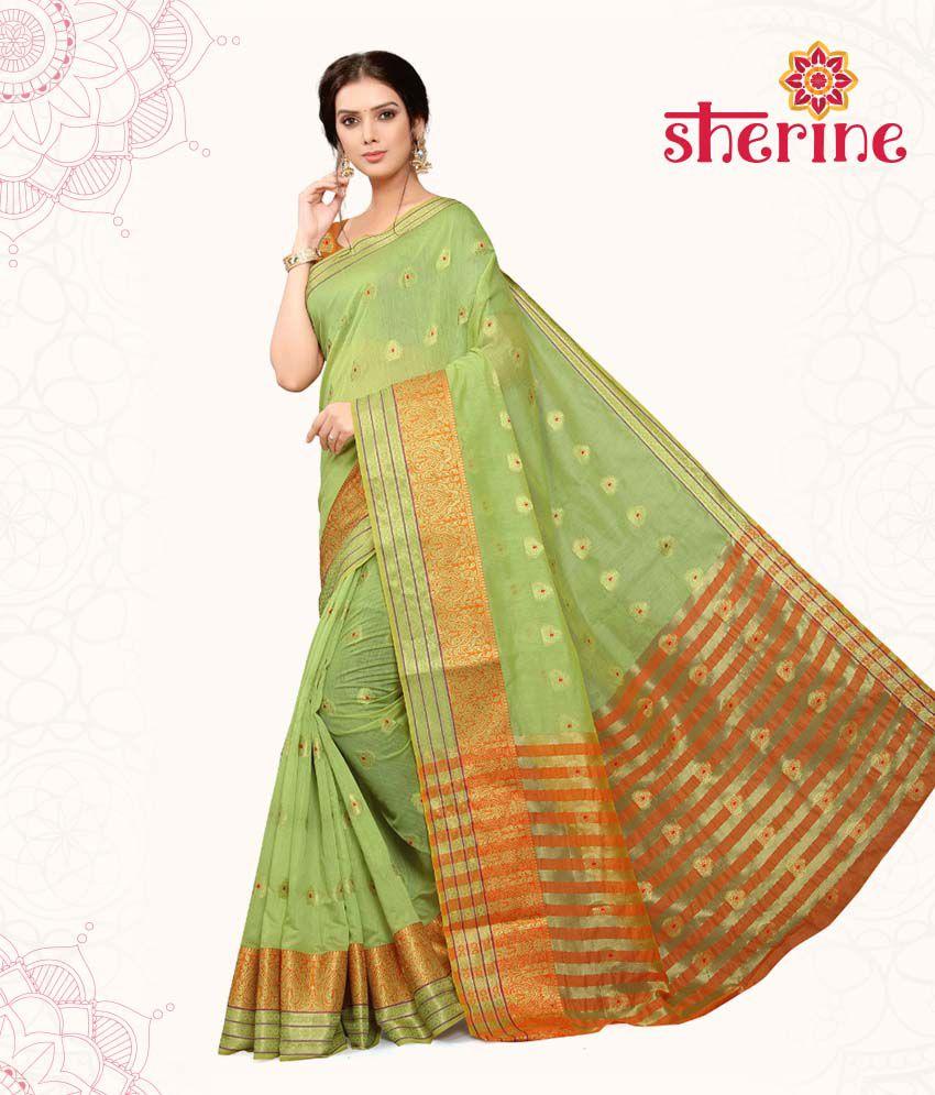 Sherine Green Cotton Saree