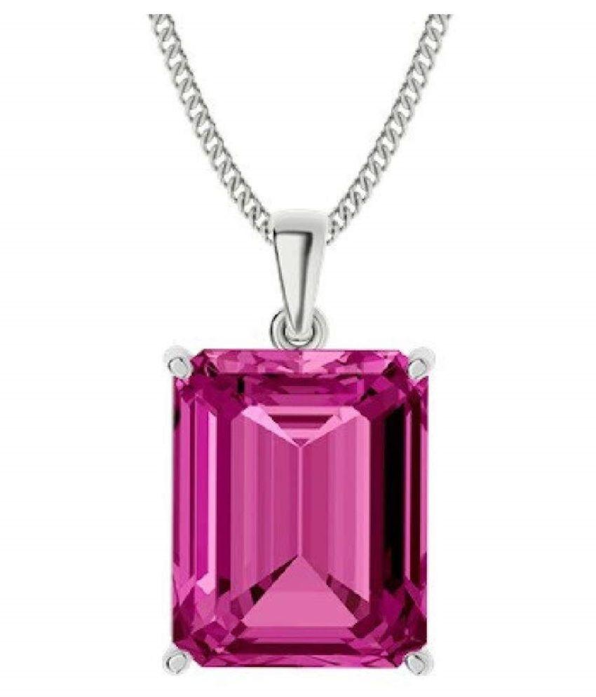 Sterling Silver Pink Sapphire  Pendant 11.25 ratti   Pink Sapphire  Pendant by Kundli Gems