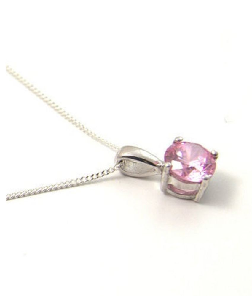pure  Pink Sapphire Pendant in 12 carat silver by Kundli Gems