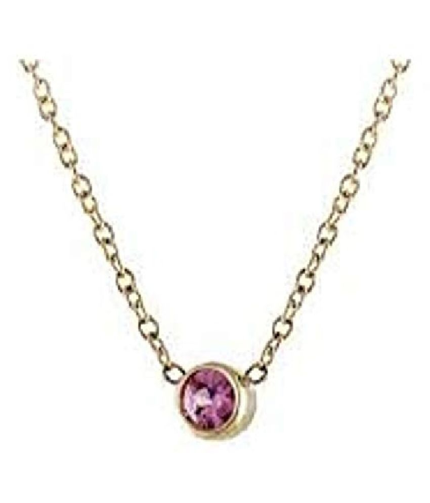 100% Original Pink Sapphire Stone 3.5 Ratti Lab Certified Stone gold plated Pendant by Ratan Bazaar