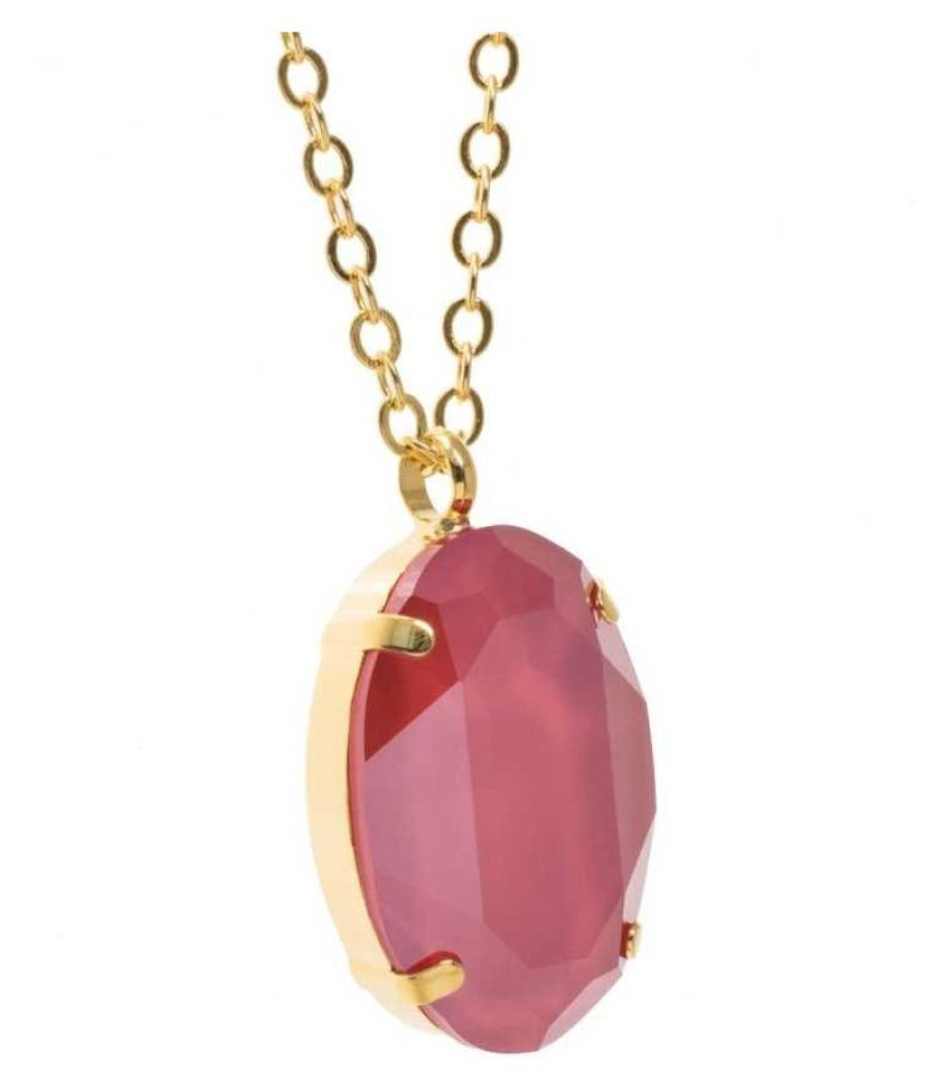 3.5 ratti Natural  Pink Sapphire  Stone  panchdhatu Gold Plated Pendant for Astrological Pink Sapphire  Pendant