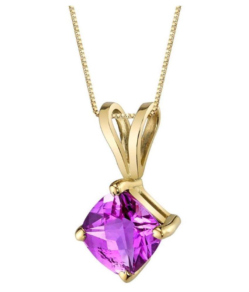 4.5 ratti Natural  Pink Sapphire  Stone   Gold Plated Pendant for Astrological Pink Sapphire  Pendant by Ratan Bazaar