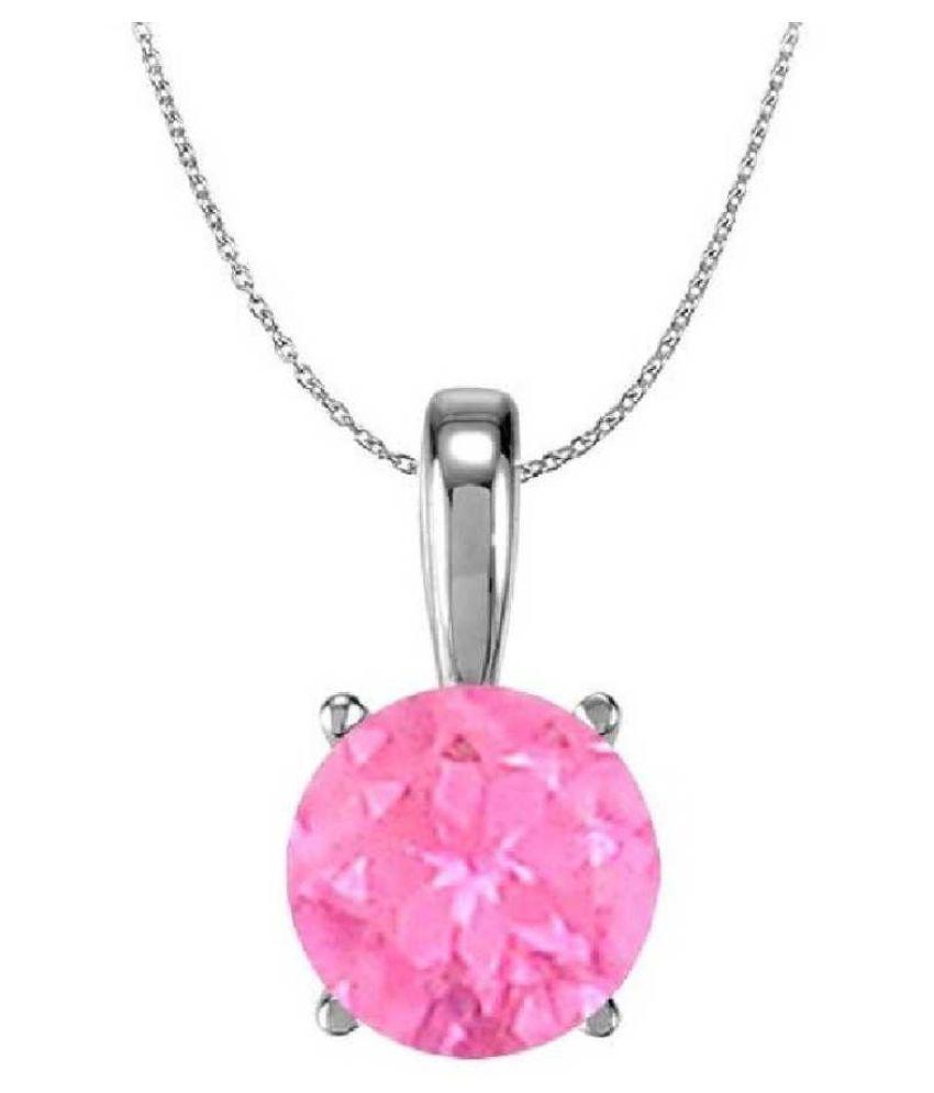 5.5 ratti Stone 100% Natural Pink Sapphire  silver Pendant by Ratan Bazaar\n