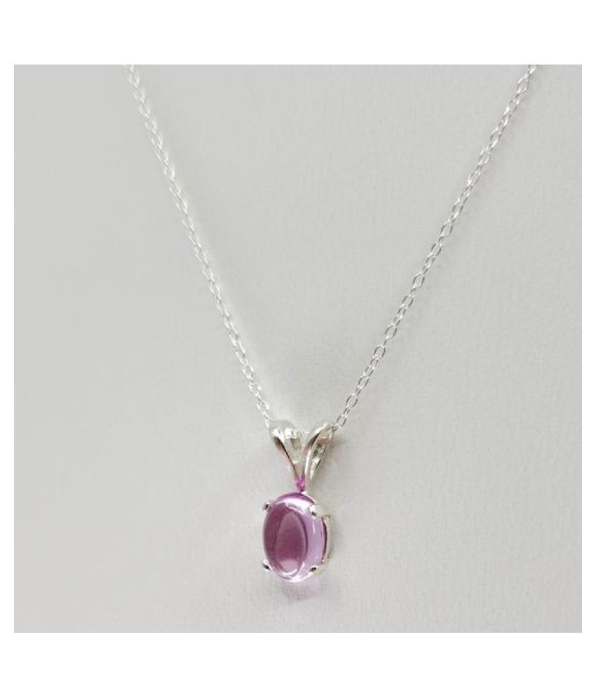 7.25 Ratti Pink Sapphire  Pendant with Natural silver Pink Sapphire  Stone by  Ratan Bazaar