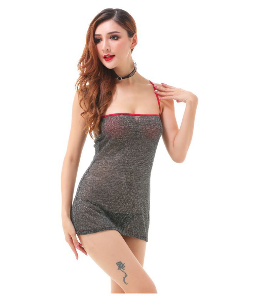 D Naked Lycra Baby Doll Dresses With Panty - Grey