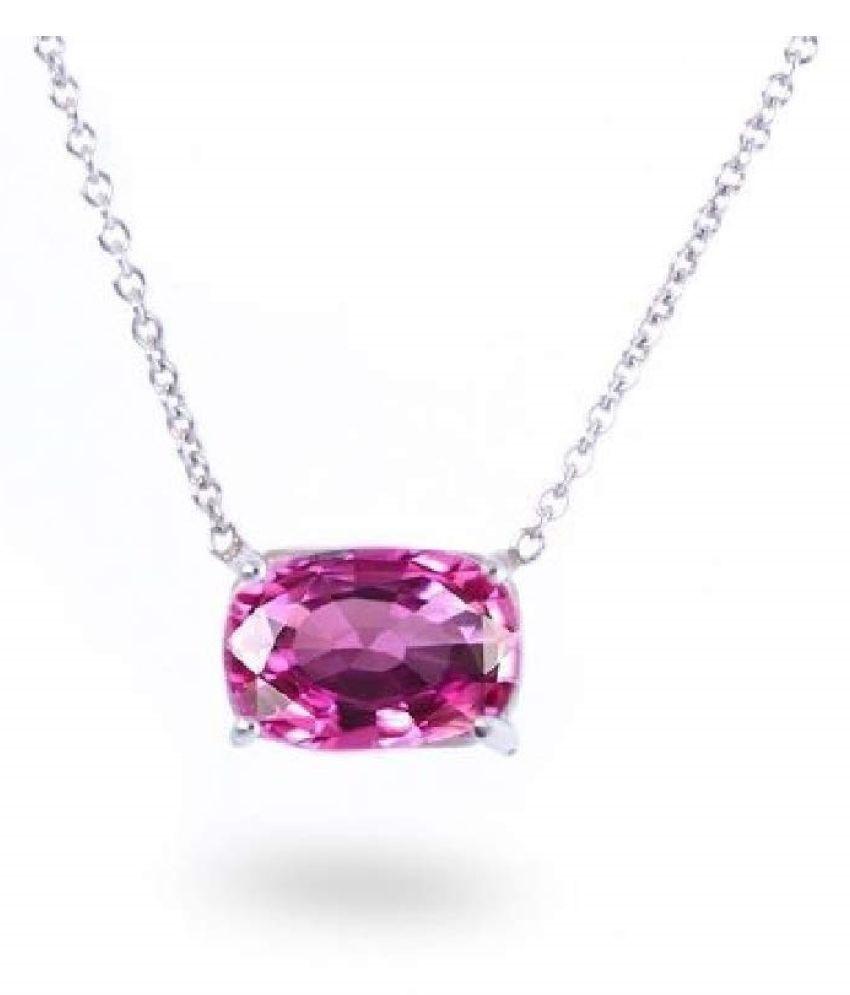 Silver Pink Sapphire  Stone Pendant 8 carat by   Ratan Bazaar