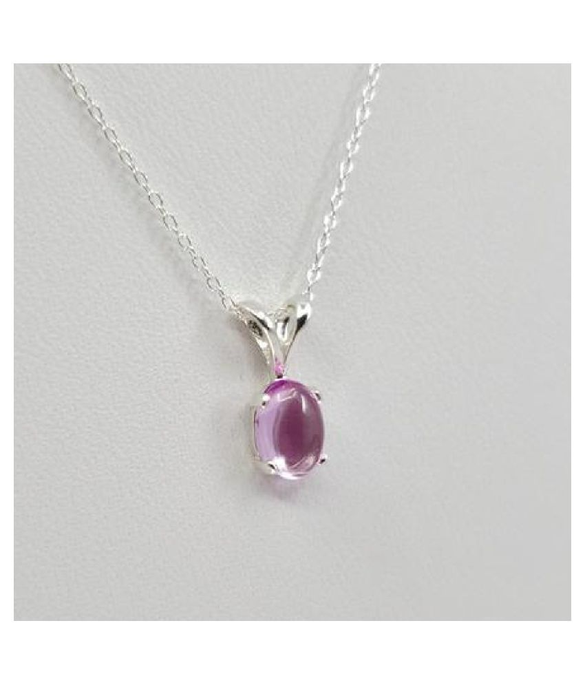 12 carat only Pendant with Natural Pink Sapphire  & Lab Certified silver Pink Sapphire  by  Ratan Bazaar