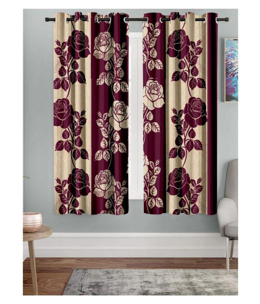 Hometique Set of 2 Window Semi-Transparent Eyelet Polyester Curtains Purple