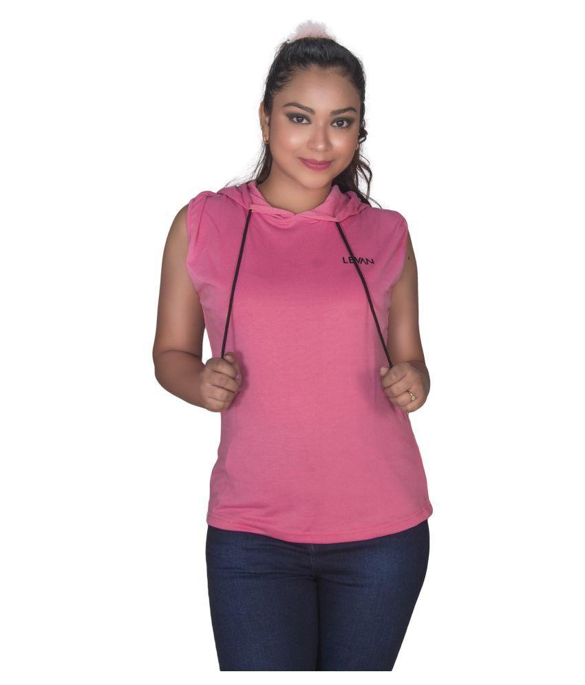 Leean Patterns Fleece Pink Hooded Sweatshirt