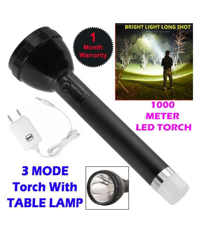 MS High Power 1200 MITERS 3 MODE TORCH 50W Flashlight Torch Rechargeable LED 50W Flashlight Torch Waterproof LED Torch - Pack of 1