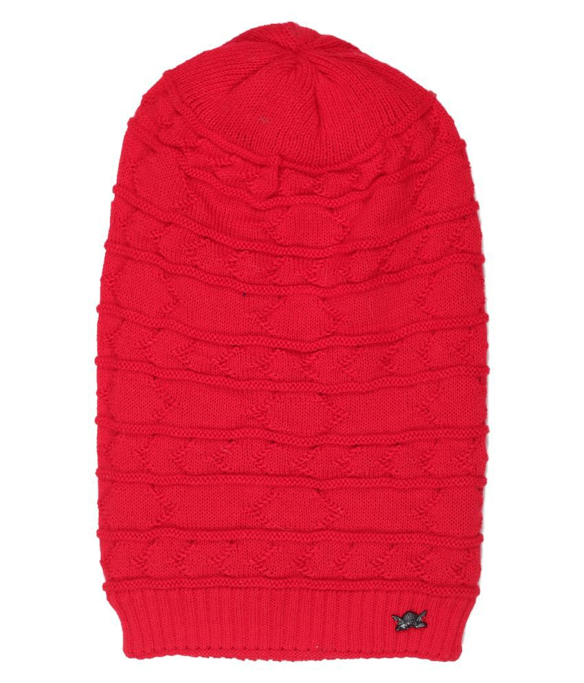 Oswal Red Plain Wool Caps
