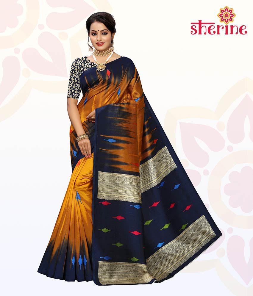 Sherine Blue Black Printed Saree with Blouse Piece
