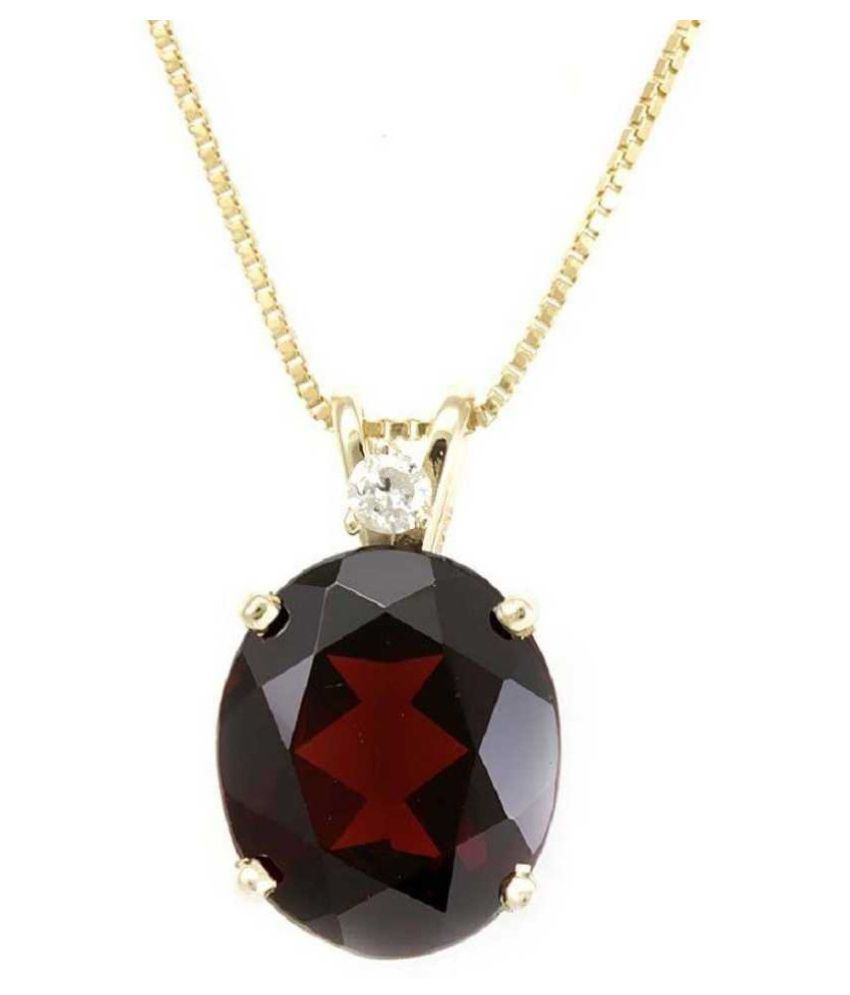 10.5 Ratti Hessonite   Pendant with Natural Gold Plated Hessonite (Gomed)  Stone by Ratan Bazaar