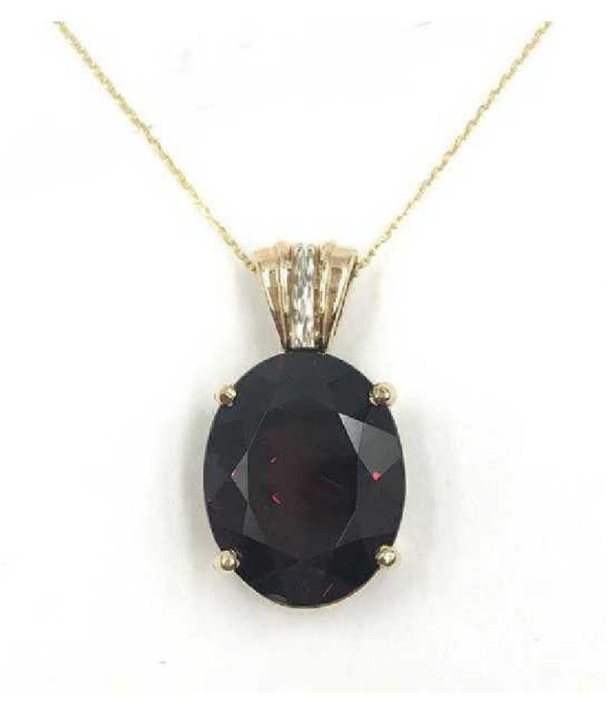 100 % Original Certified Stone 9 Carat Hessonite (Gomed) Gold Plated Pendant By Ratan Bazaar
