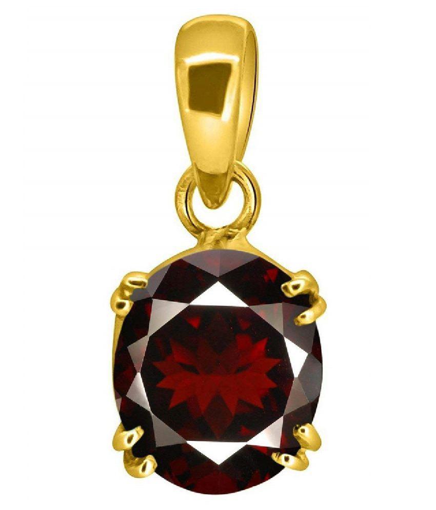 100% Original Hessonite (Gomed) Stone 9.5 Ratti Lab Certified Stone gold plated Pendant by Ratan Bazaar