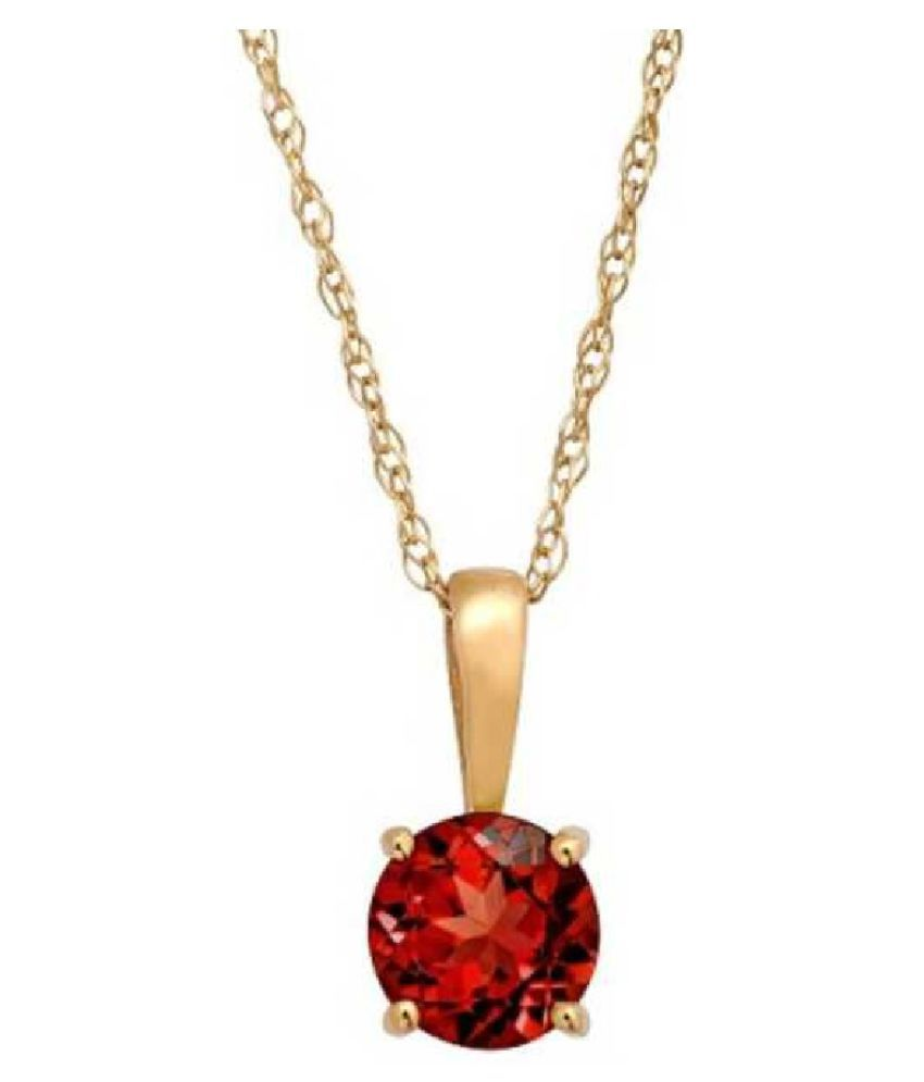 Hessonite (Gomed)  original & lab certified 6.5 ratti Gold Plated Pendant for astrological purpose by Ratan Bazaar\n
