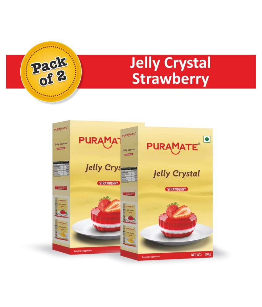 Puramate Strawberry Jelly Crystal, 100 g Pack of 6