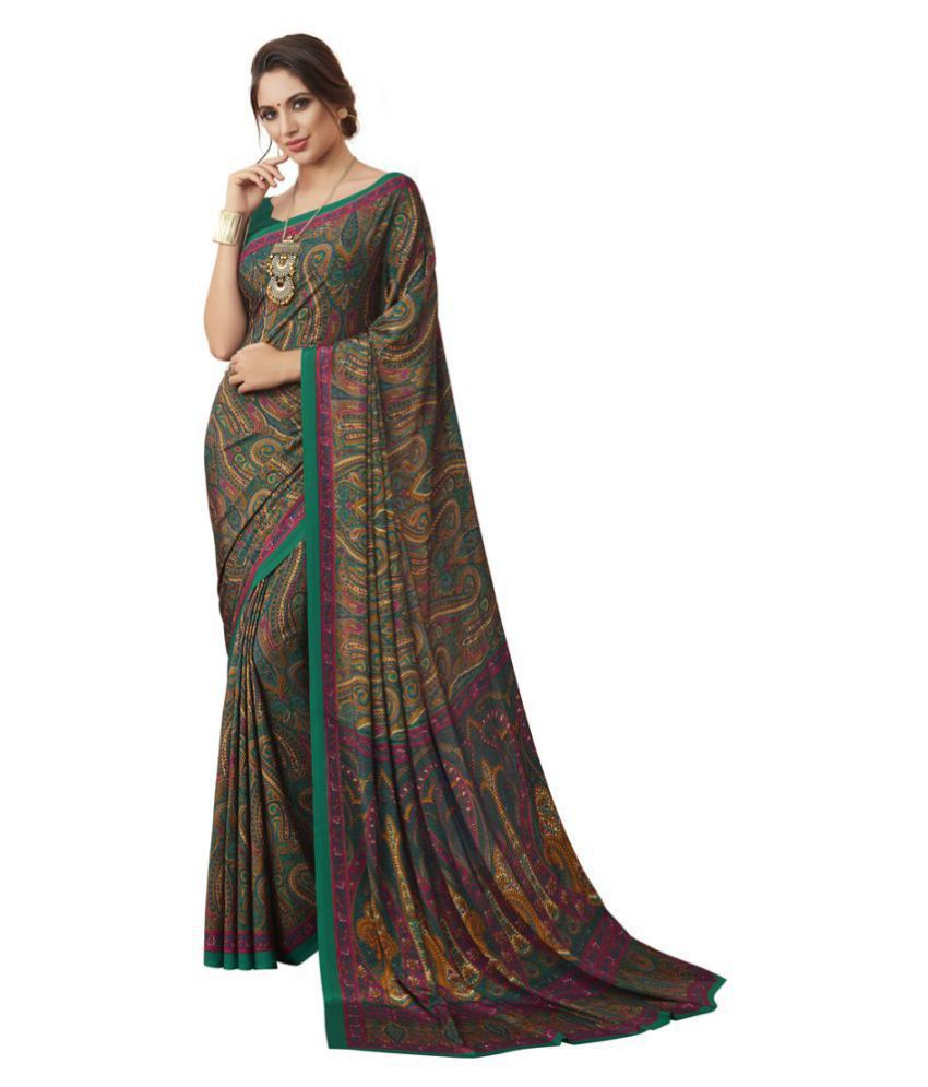 Sherine Brown,Green Printed Saree with Blouse Piece (Fabric- Poly Crepe)