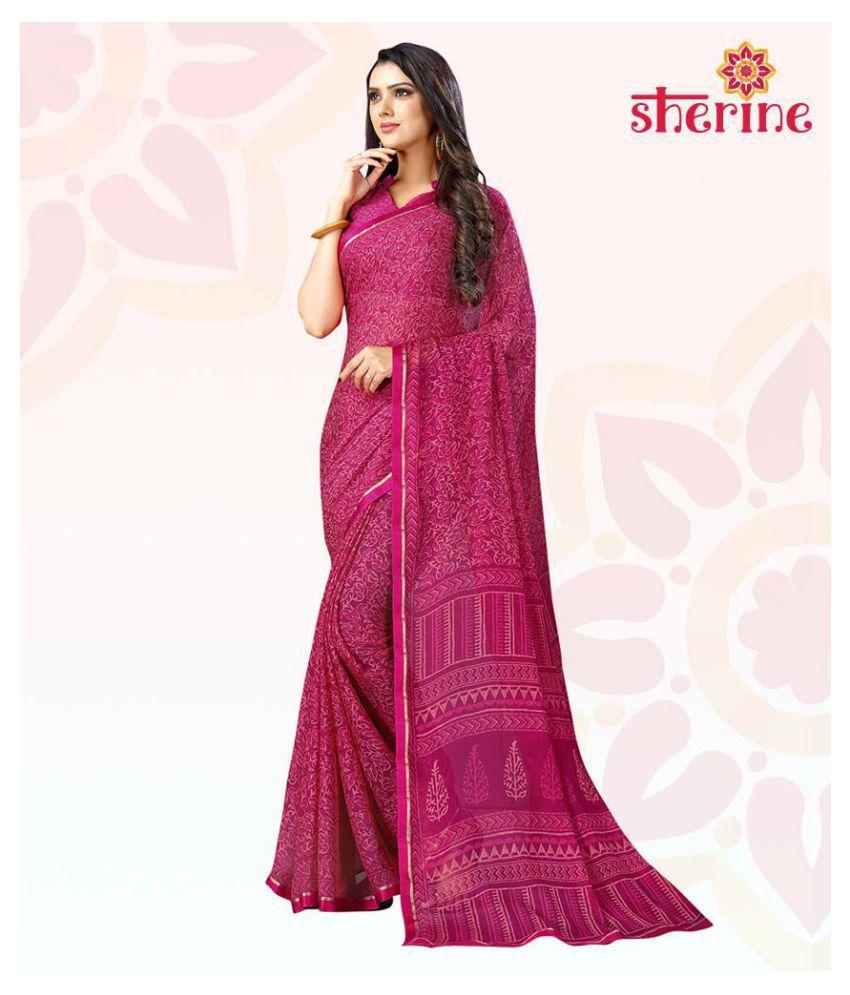 Sherine Purple Saree with Blouse Piece(Fabric - Poly Chiffon)