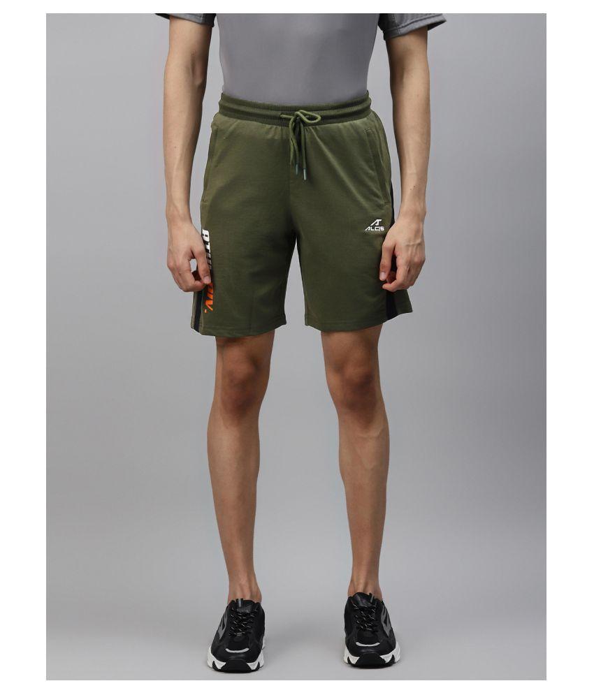 Alcis Olive Cotton Walking Shorts