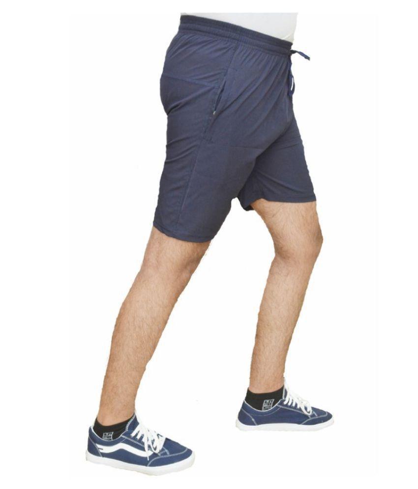 Forbro Blue Polyester Lycra Fitness Shorts
