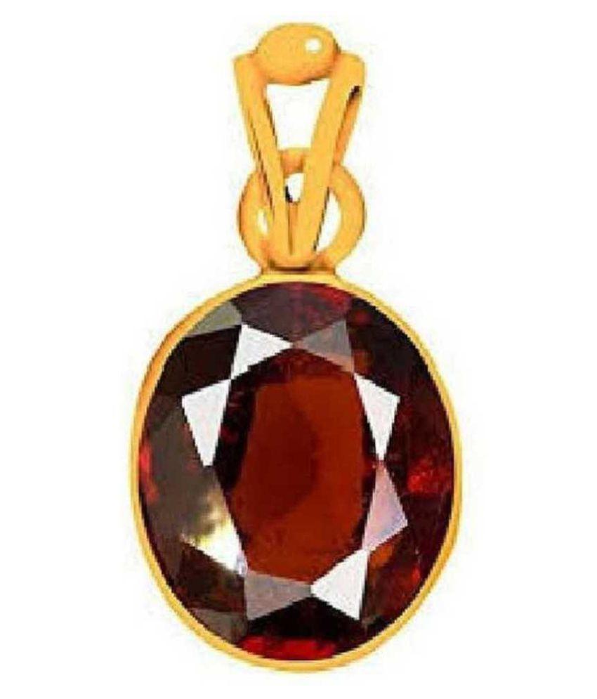100% Original Hessonite (Gomed) Stone Lab Certified Stone 5.5 Ratti Gold Plated Pendant by KUNDLI GEMS
