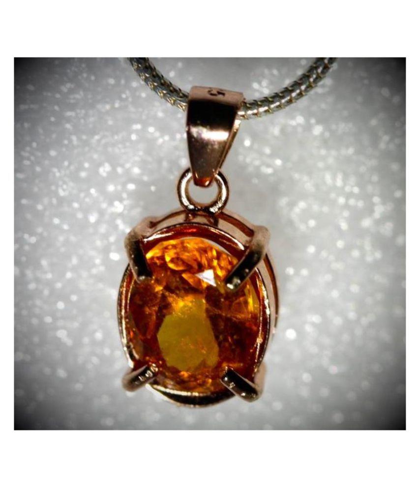 5.5 Ratti Natural Certified Hessonite (Gomed) Gemstone Panchdhatu Gold Plated Pendant by KUNDLI GEMS