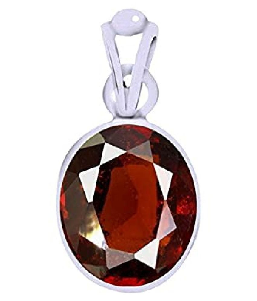 5 Ratti Hessonite (Gomed)  pure Silver Pendant for Unisex by  KUNDLI GEMS\n