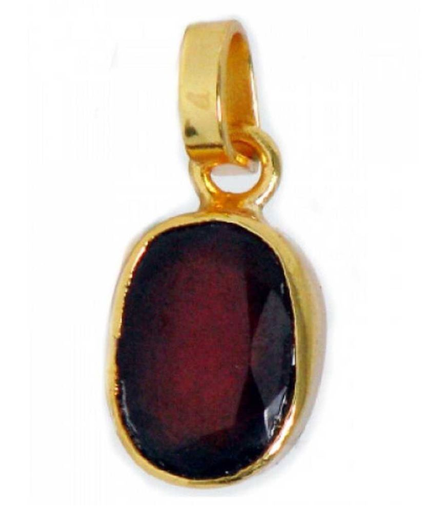 Natural & Unheated Stone Hessonite (Gomed) Stone 6.5 Ratti Gold Plated Pendant by KUNDLI GEMS