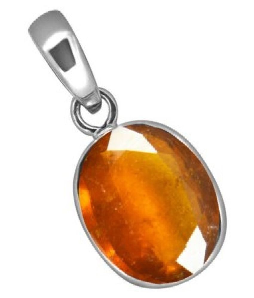 Sterling Silver 7.5 Carat Classic Hessonite (Gomed)  Pendant by KUNDLI GEMS
