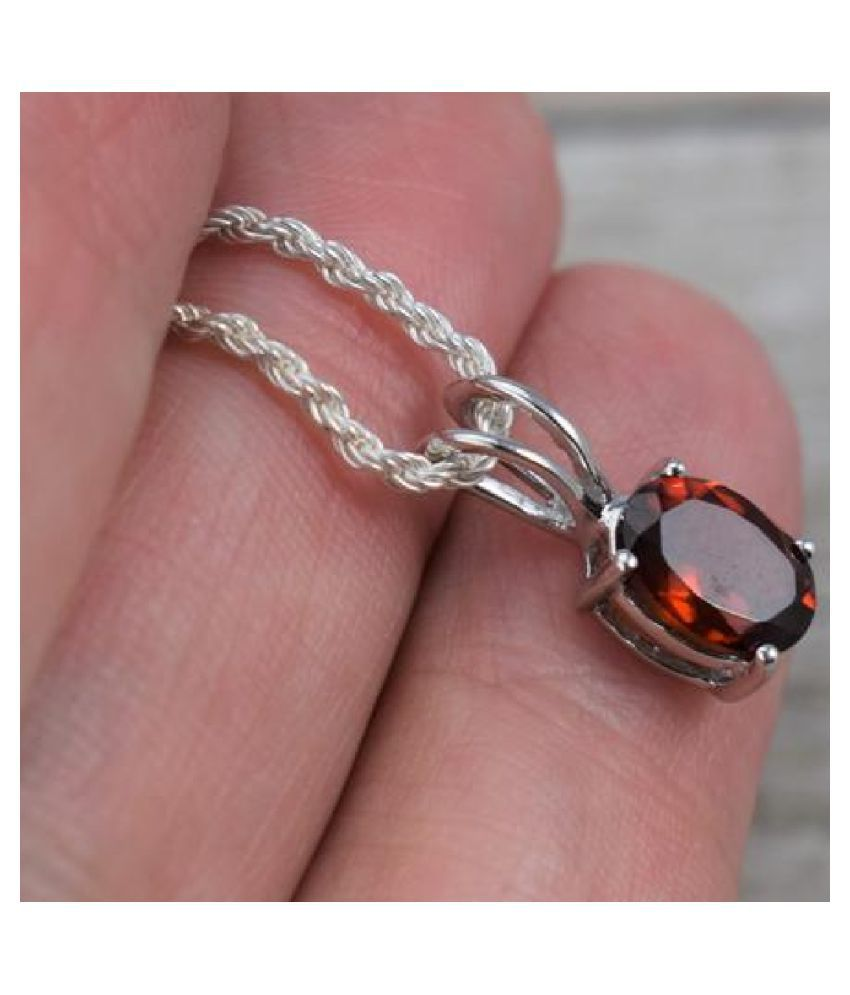 10.25 carat pure Hessonite (Gomed)  silver Pendant for women by KUNDLI GEMS \n