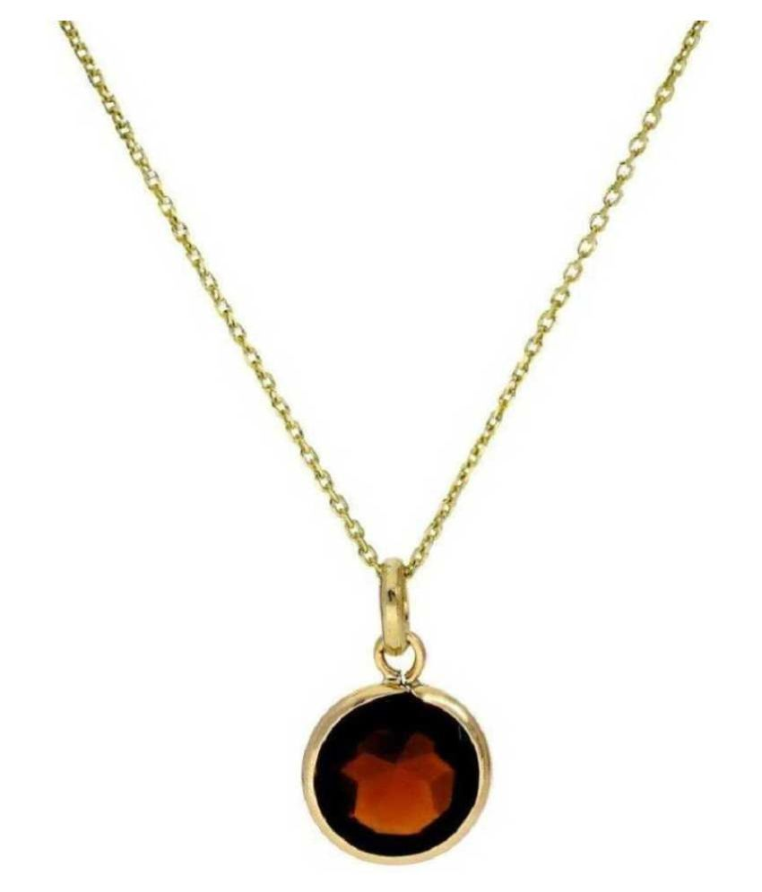 100% Original Hessonite (Gomed) Stone Lab Certified Stone 10 Ratti Gold Plated Pendant by KUNDLI GEMS