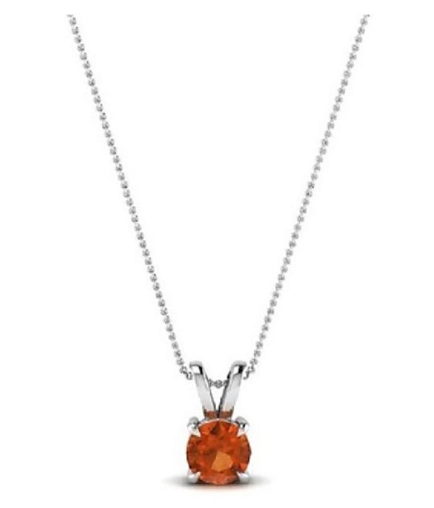 8.5 Ratti Lab Certified Stone 100% Original Hessonite (Gomed)  Silver Pendant for unisex by KUNDLI GEMS\n
