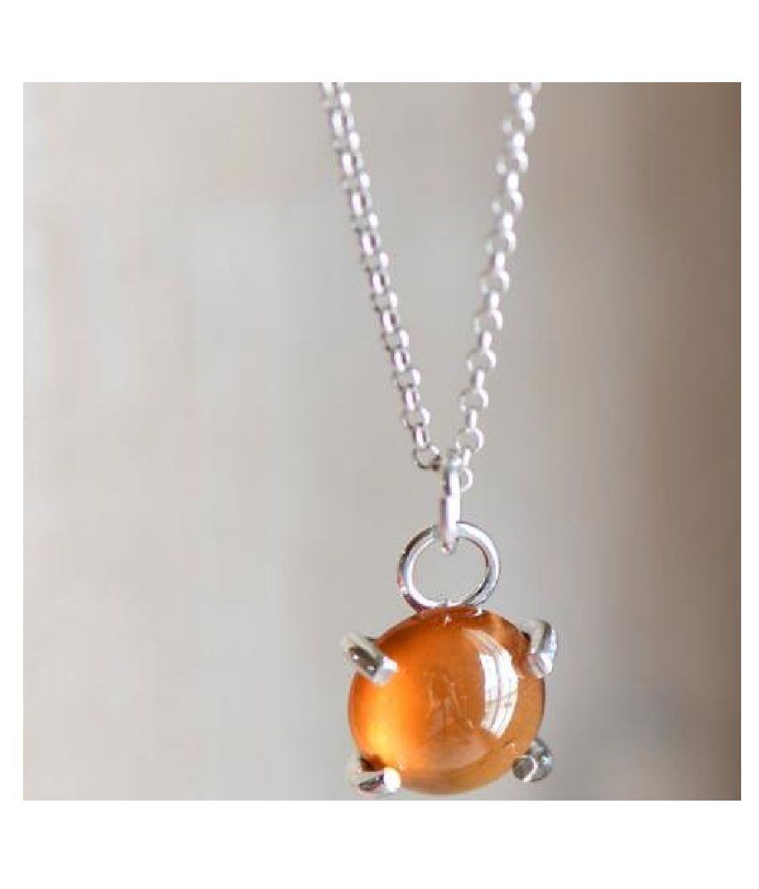 Hessonite (Gomed)  Pendant 10 ratti  Stone Silver   for Men and Women by KUNDLI GEMS