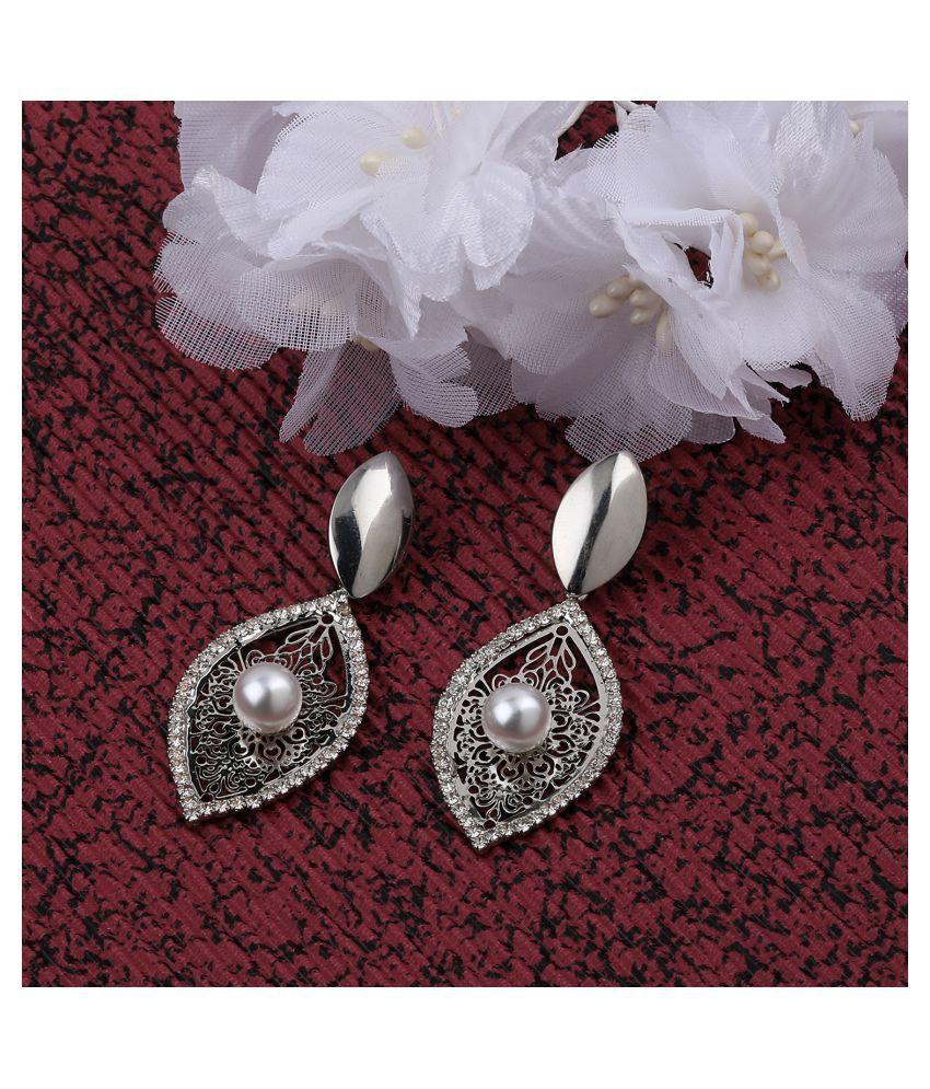 SILVER SHINE  Charm Stylish Silver leaf Shape Drop Earring For Women Girl