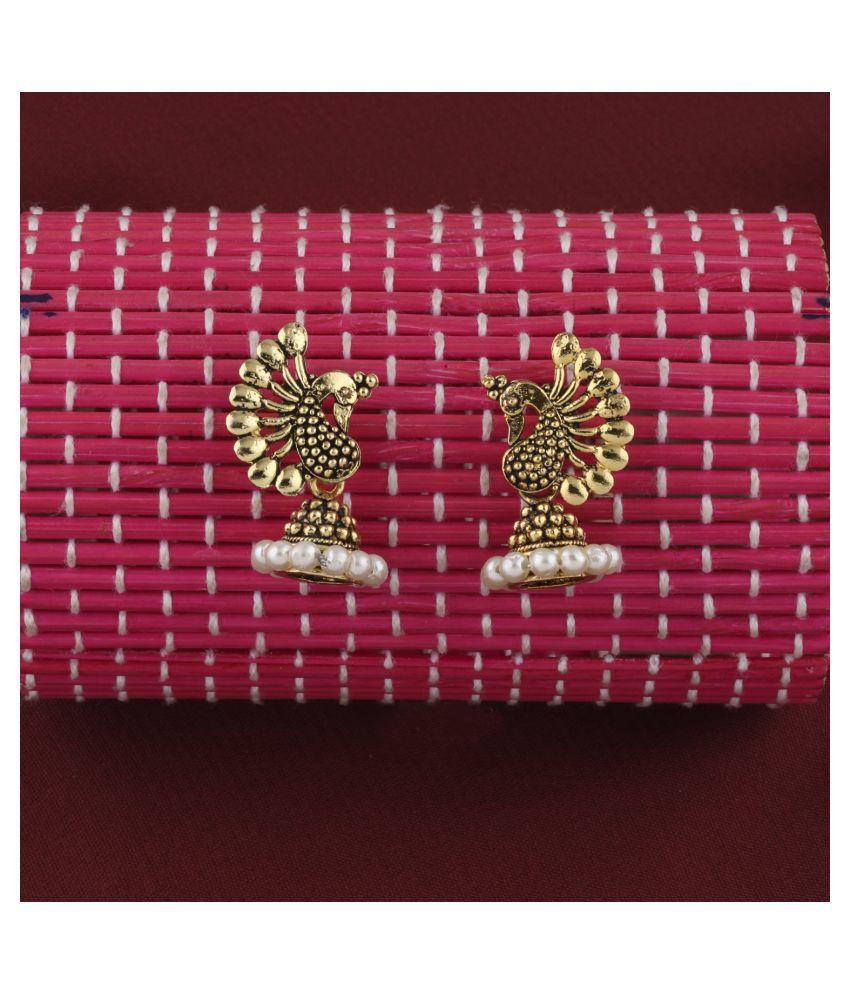 SILVER SHINE  Glitzy  Beads in Peacock Shape Jhumki Earrings
