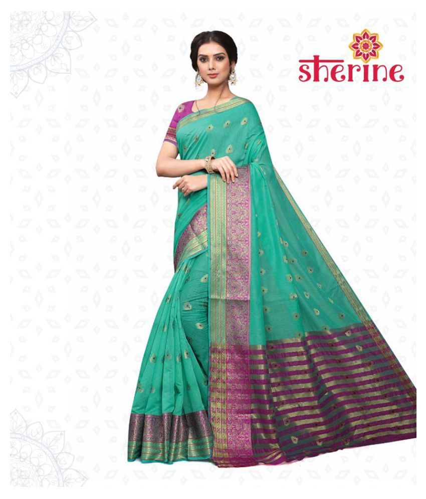 Sherine Green , Purple Saree (Fabric- Poly Cotton)