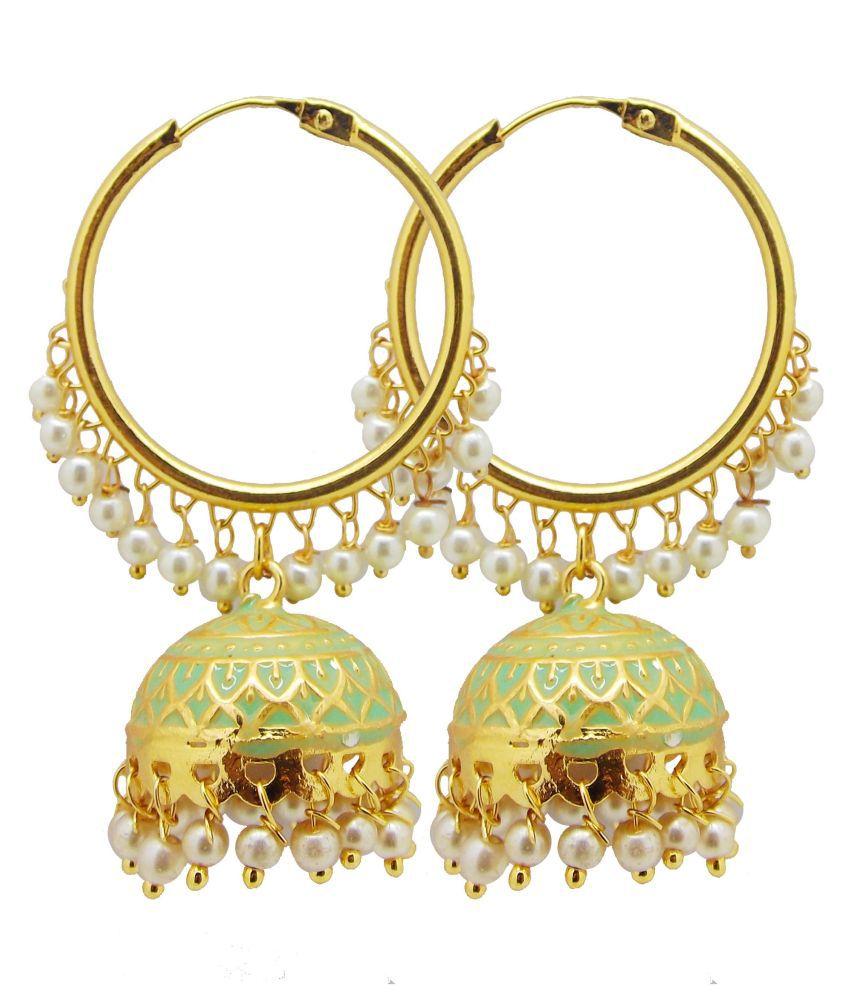 BIYU 22kt Diva Collection Gold Plated Pearl Meenakari Jhumka Earring Mint Green