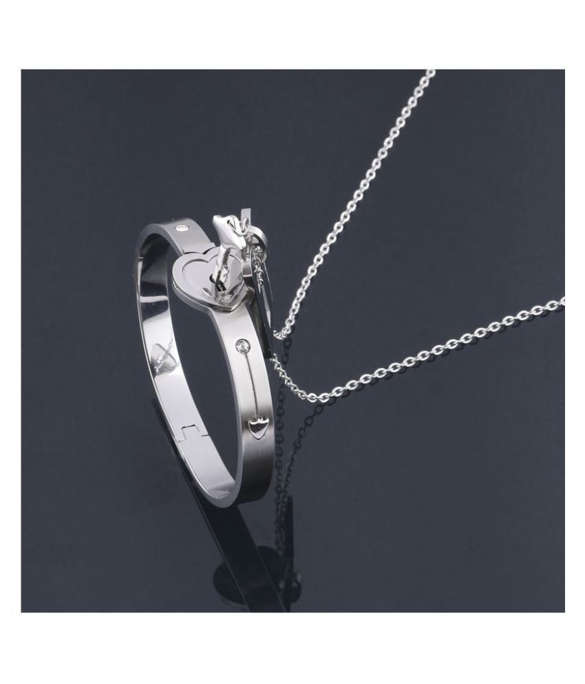 Classic Design Heart Lock and Key Stainless Steel Couple Bracelet &  Nacklace Set for Couples Men and Women