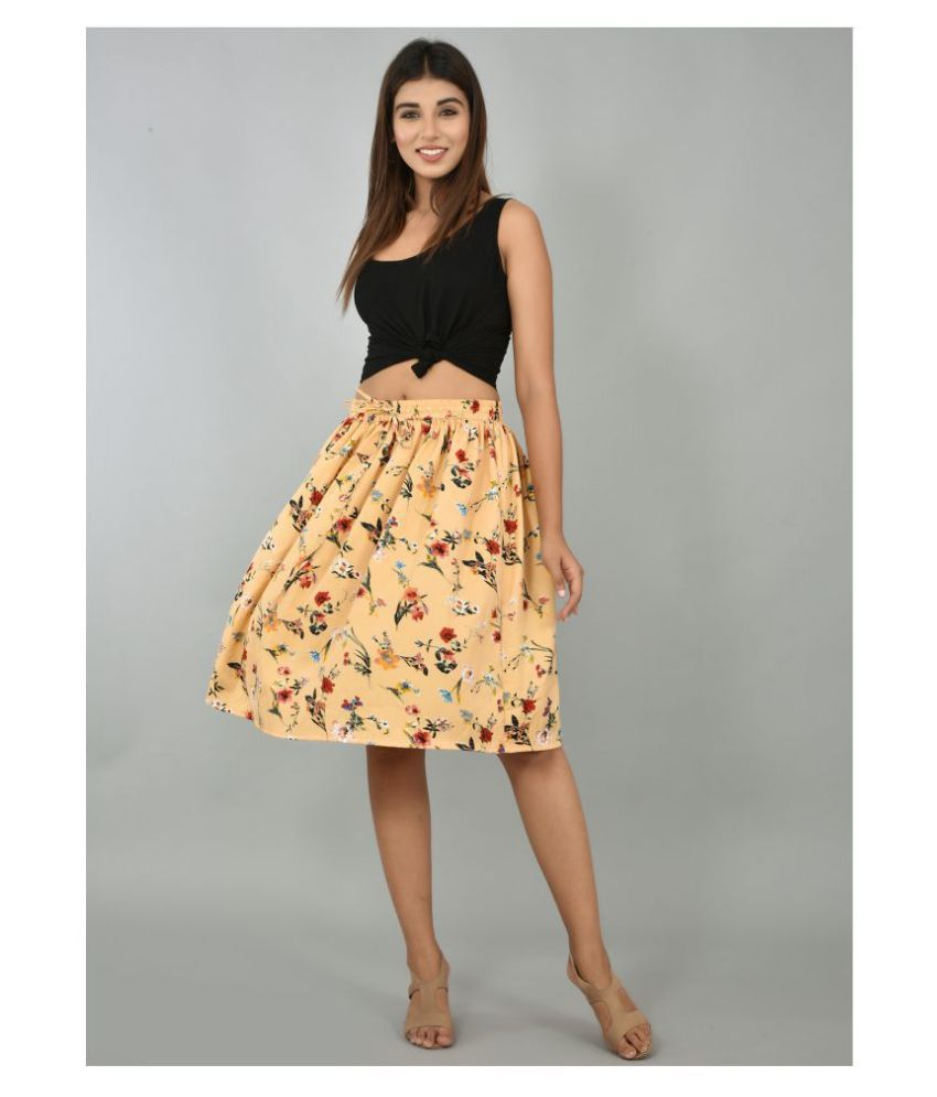 Girly Girls Crepe A-Line Skirt - Beige