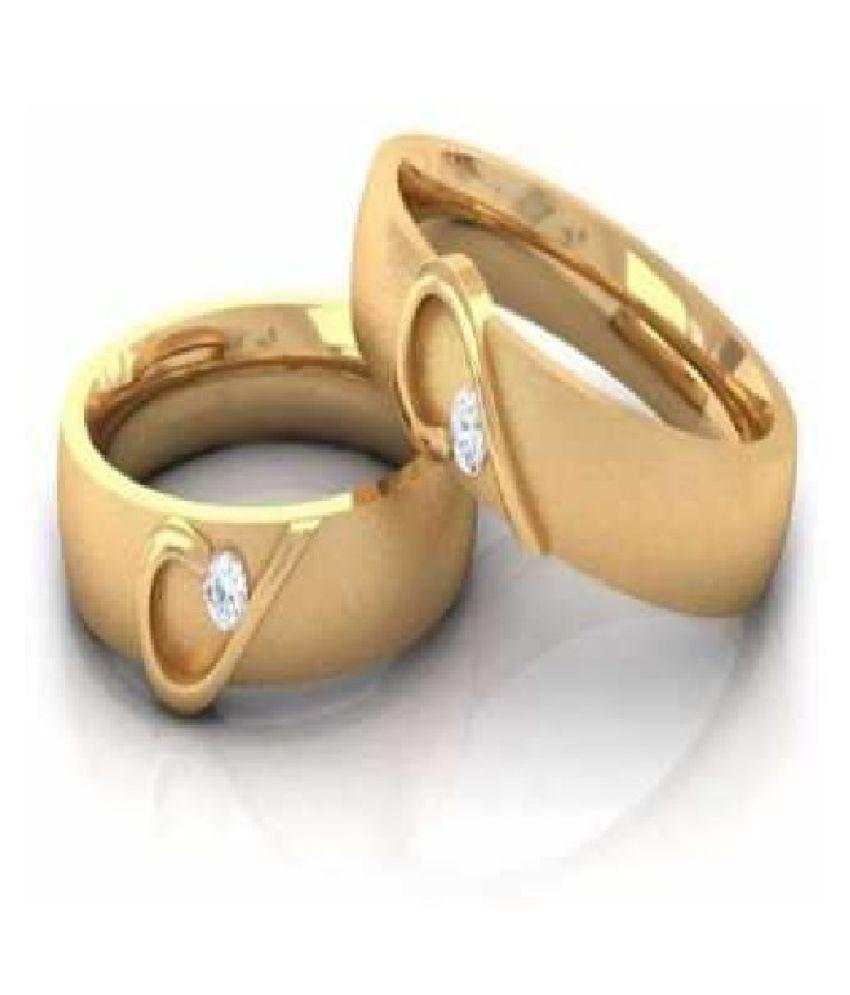 Kundli Gems - Couple Ring American Diamond AdjustableGold Plated Finger Ring Set Combo for Women Girls Men Boys