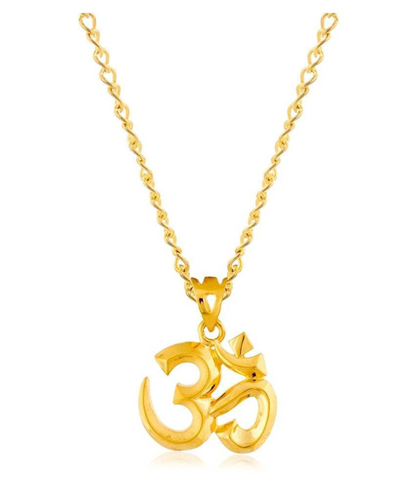 RATAN BAZAAR - Om Religious Gold Plated Pendant Without  Chain For Women & Men
