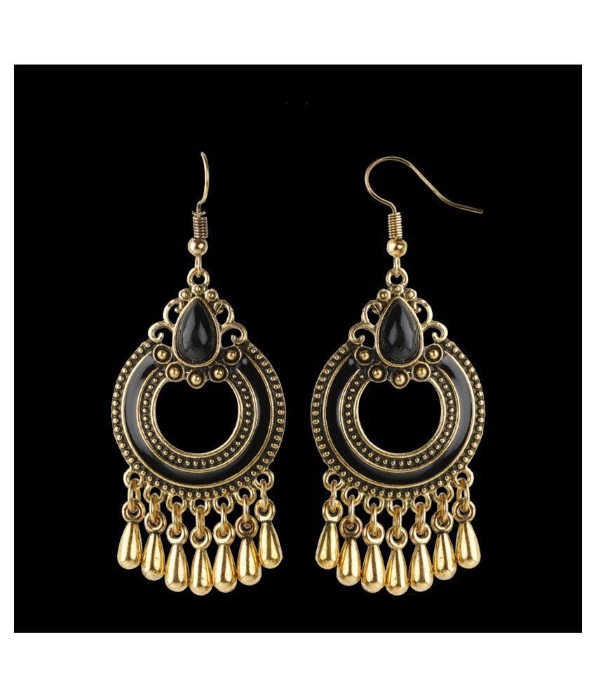 SILVER SHINE  Good Looking Golden Black Enamel and Stone Work Chandbali Earrings for Women