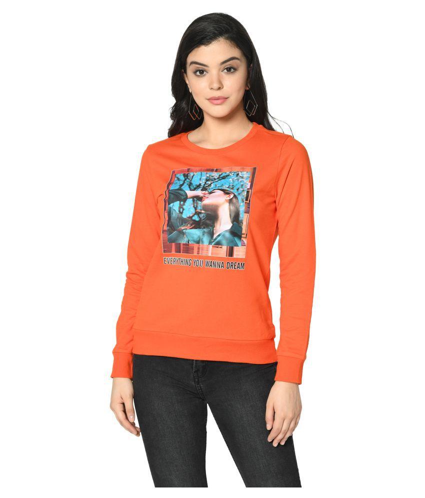 2Bme Cotton Orange Non Hooded Sweatshirt