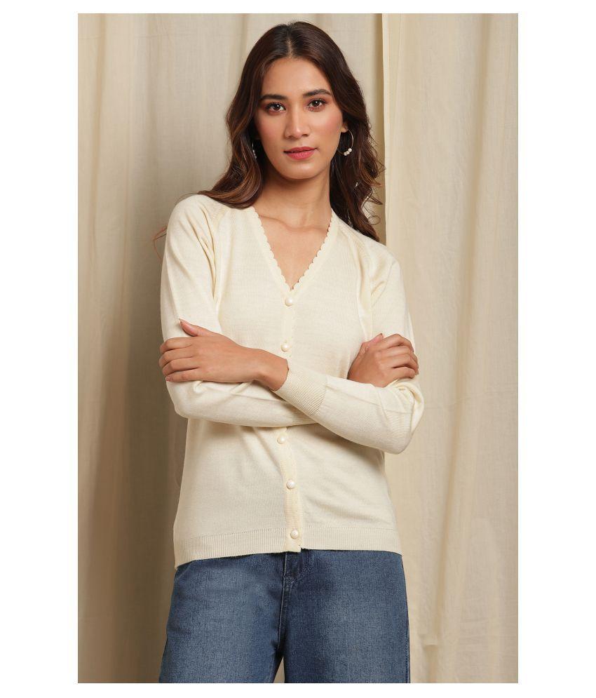 Janasya Acrylic Off White Buttoned Cardigans