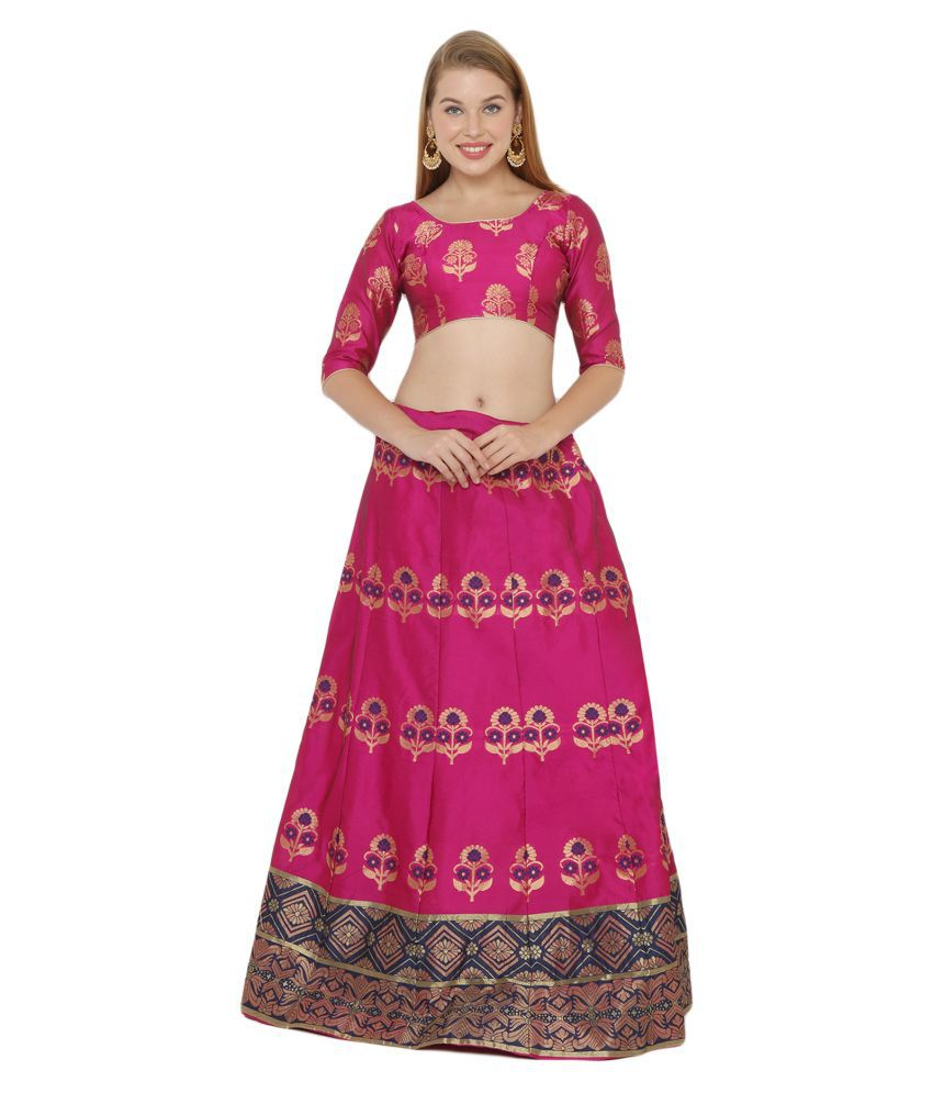 Salwar Studio Pink Silk Blends Unstitched Semi Stitched Lehenga