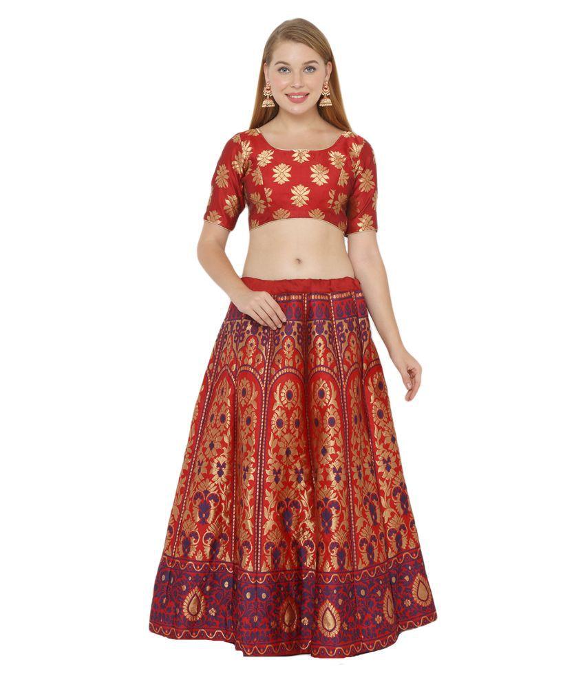 Salwar Studio Red Silk Blends Unstitched Semi Stitched Lehenga